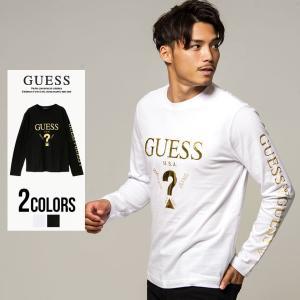 """長袖Tシャツ メンズ """"GUESS【ゲス】デザインゴールドプリントクルーネック長袖Tシャツ/全2色""""..."""
