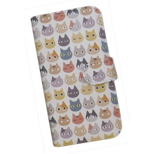 スマートフォンケース 手帳型 プリントケース 猫 動物 パターン画 AQUOS【docomo/au】|silvereye