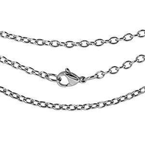 ステンレスあずきチェーン  幅2.2mm 長さ45cm|silveringrowth