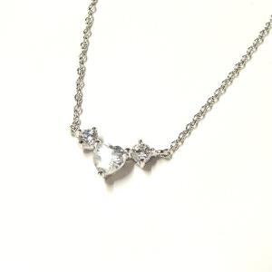 ハートのキュービックジルコニアネックレス|silveringrowth