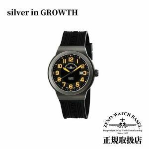 腕時計 ゼノ Zeno メンズ ZN100-SV-OR パイロットウォッチ ブラック ダイヤル オレンジ文字盤 100mm防水 腕時計|silveringrowth