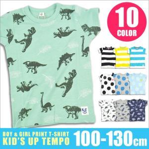 グロリア キッズアップテンポ Kids up tempo プリント半袖Tシャツ 半袖 プリントT 半袖プリントT 恐竜 ボーダー ドット 100cm-130cm 送料無料|sime-fabric