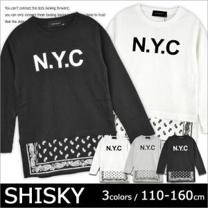 SHISKY シスキー 裾ペイズリーレイヤード風ロングTシャツ 男児 プリント ペイズリー レイヤード風 スリット ロゴ オフホワイト グレー ブラック 110cm 120cm|sime-fabric