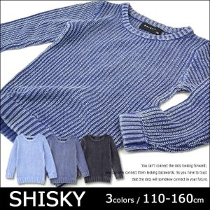 SHISKY シスキー 畦編みストーンウォッシュセーター 片畦編み 無地 丸首 クルーネック セーター 綿100% 長袖 男の子 女の子 110 120 130 140 150 160 送料無料|sime-fabric