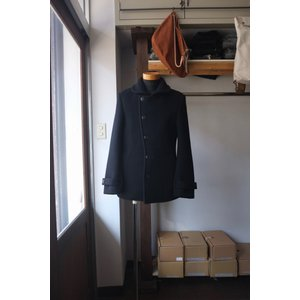 Re made in tokyo japan アールイー Melton Stand Collar P-Coat black|simonsandco