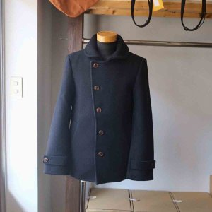 Re made in tokyo japan アールイー Melton Stand Collar P-Coat navy|simonsandco