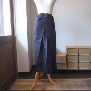SARAXJIJI サラジジ Oxford Linen Fold SK オクスフォードリネン フォールドスカート 80cm navy|simonsandco
