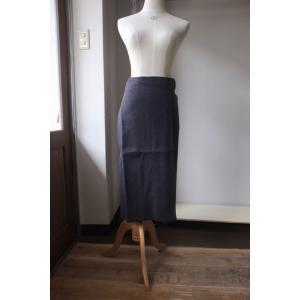 SARAXJIJI サラジジ Oxford Linen Fold SK 70cm オクスフォードリネン フォールドスカート navy|simonsandco