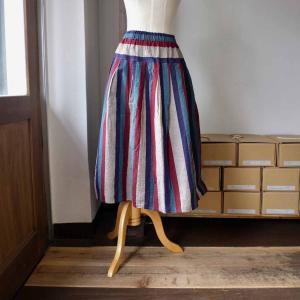 YAMMA ヤンマ産業 会津木綿 tac-sk タックスカート ノーマル丈 縞 4 colors|simonsandco