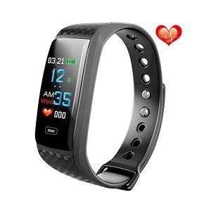 スマートウォッチ 心拍計 活動量計 血圧測定 歩数計 カラフルスクリーン スマートウォッチスマートブ...