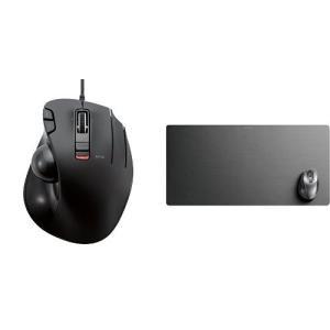 エレコム 有線マウス トラックボール 6ボタン ブラック + 超大判マウスパッド デスクマット