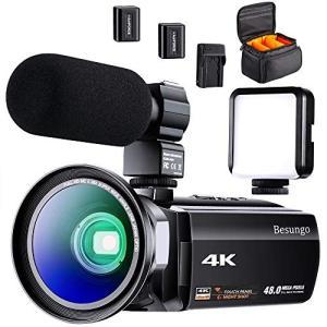 4K ビデオカメラ 充電式マイクロホン 60FPS 48MP HDR Youtubeで生放送 ビデオ通話 WIFI機能 16倍デジタルズーム 超広角|simpleplan