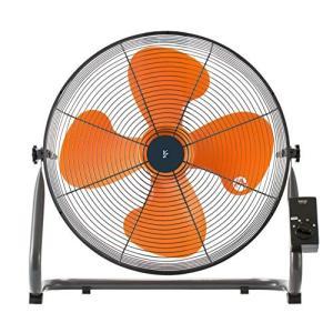 山善 扇風機 45cm 工業扇 床置き式 ロータリースイッチ 風量3段階調節 オレンジ YKY-458|simpleplan