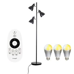 フロアスタンド ランプ フロアライト スタンドライト 3灯 調光調色LED電球3個付き E26 60W形相当(GT-DJ02B-9WT)リモコン対応|simpleplan
