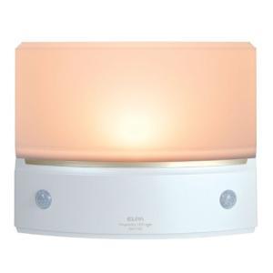 ELPA センサーライト もてなしのあかり 足元に置いても邪魔にならに薄型デザイン 電球色LED 広角Wセンサー HLH-1203(PW)|simpleplan