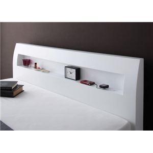 すのこベッド セミダブル〔Alamode〕〔フレームのみ〕 ホワイト 棚・コンセント付きデザインすのこベッド〔Alamode〕アラモード|simpluxury|03