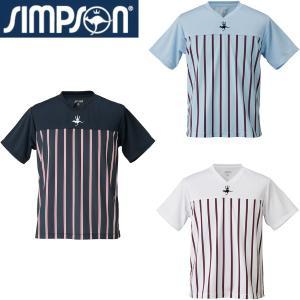 ●前後身頃にストライプを昇華プリントしたVネックシャツ。  ●フロントにミッドサイズロゴ刺繍。(JT...