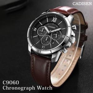 CADISEN メンズ腕時計 クロノグラフ レザーベルト c9060 腕時計 ブランド|sincere-inc