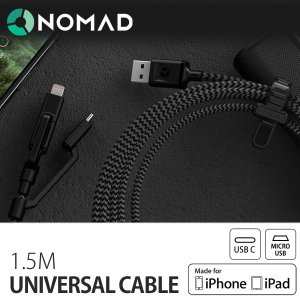 NOMAD ノマド Universal Cable 1.5M ユニバーサルケーブル Lightningケーブル MFi認定 iPhone Android USBタイプC メール便OK sincere-inc