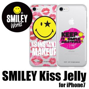 iPhone7 iPhone8ケース カバー スマイリーキスジェリー SMILEY スマイリーフェイス キスマーク スマホケース ニコちゃんマーク ソフトケース メール便OK|sincere-inc