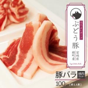 ぶどう豚 宮崎県産  豚バラ焼肉カット お試し 100g|singaki-meat
