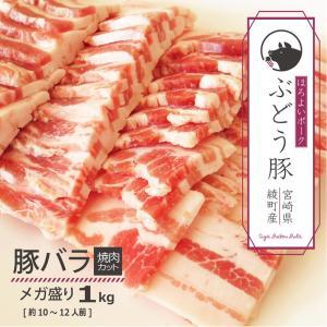 ぶどう豚 宮崎県産 豚バラ 焼肉カット1kg|singaki-meat