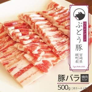 ぶどう豚 宮崎県産  豚バラ焼肉カット500g|singaki-meat