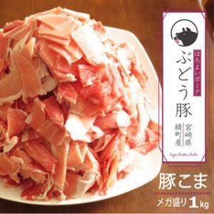 ぶどう豚 宮崎県産 豚こま メガ盛り 1kg 銘柄豚|singaki-meat