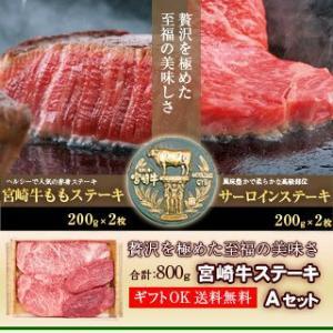 牛肉 宮崎牛 ステーキ Aセット 送料無料 (宮崎牛 もも ステーキ 200g × 2 宮崎牛 サーロイン ステーキ 200g × 2)|singaki-meat