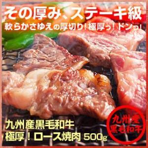牛肉 九州産 黒毛和牛  ちょっと 訳あり♪ 極厚! ロース 焼肉 500g 和牛|singaki-meat