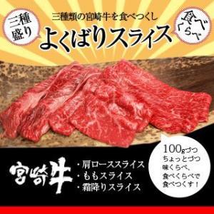 牛肉 宮崎牛 よくばり スライス 三種盛り 送料無料 和牛 黒毛和牛|singaki-meat