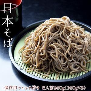 日本そば 800g 8人前 (100g×8) ご当地 お取り寄せ そば 蕎麦 乾麺 保存用チャック付...
