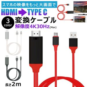 HDMI変換アダプター TYPE-C  USB-A給電可 HDMIケーブル 安定動作  4K タイプ...
