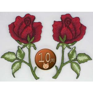 【送料62円】バラB/深紅ペア/アイロンアップリケワッペン/刺繍/花/薔薇|siripohn