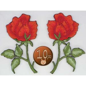 【送料62円】バラB/赤ペア/アイロンアップリケワッペン/刺繍/花/薔薇 siripohn
