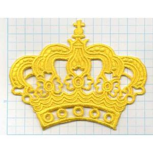 【送料62円】クラウンM/黄色/アイロンアップリケワッペン/刺繍/王冠マーク siripohn