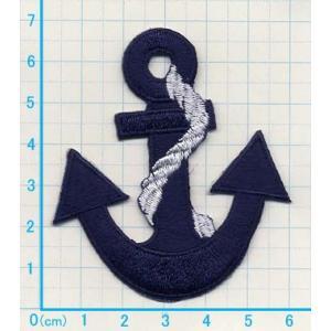 【送料62円】イカリM3/青/アイロンアップリケワッペン/刺繍/マリンマーク/船/海/水泳|siripohn