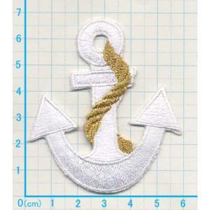 【送料62円】イカリM3/白/アイロンアップリケワッペン/刺繍/マリンマーク/船/海/水泳|siripohn