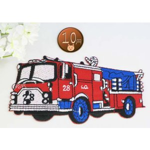 【送料62円】消防車L/赤/アイロンアップリケワッペン/刺繍/ちょっと大きめ/乗り物/働く自動車 siripohn