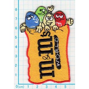 【送料62円】mm/チョコマーク/スイーツ/アイロンアップリケワッペン/刺繍/MandMロゴマーク|siripohn