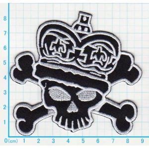 【送料62円】スカルキング/黒/アイロンアップリケワッペン/刺繍/ガイコツ/海賊/ドクロマーク|siripohn