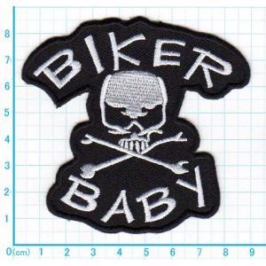 【送料62円】BIKER BABYスカル/白/アイロンアップリケワッペン/刺繍/ガイコツ/ドクロマーク/バイク|siripohn