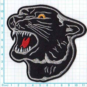 【送料62円】黒豹/Lサイズ/アイロンアップリケワッペン/刺繍/動物/ジャガー|siripohn