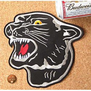 【送料62円】黒豹/LLサイズ/アイロンアップリケワッペン/刺繍/動物/ジャガー|siripohn