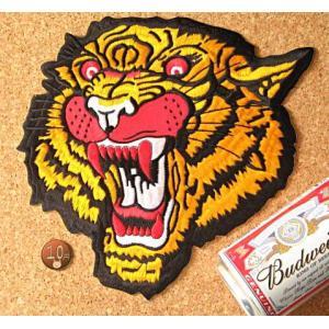 【送料62円】トラB/XLサイズ/アイロンアップリケワッペン/刺繍/動物/虎/タイガー/大判|siripohn