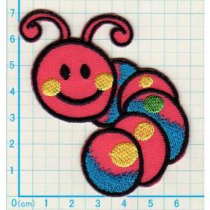 【送料62円】ニコニコ虫/ピンク/アイロンアップリケワッペン/刺繍/ニコちゃんマーク|siripohn