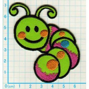 【送料62円】ニコニコ虫/緑/アイロンアップリケワッペン/刺繍/ニコちゃんマーク|siripohn
