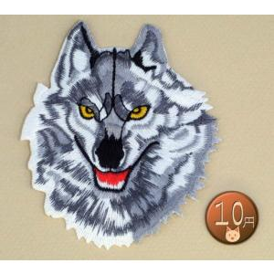 【送料62円】狼L/灰色/アイロンアップリケワッペン/刺繍/動物/オオカミ/ハスキー犬|siripohn