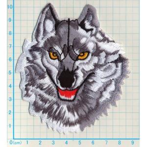 【送料62円】狼L/灰色/アイロンアップリケワッペン/刺繍/動物/オオカミ/ハスキー犬 siripohn 02