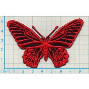 【送料62円】チョウi/赤/Lサイズ/アイロンアップリケワッペン/刺繍/蝶々/ちょうちょ|siripohn